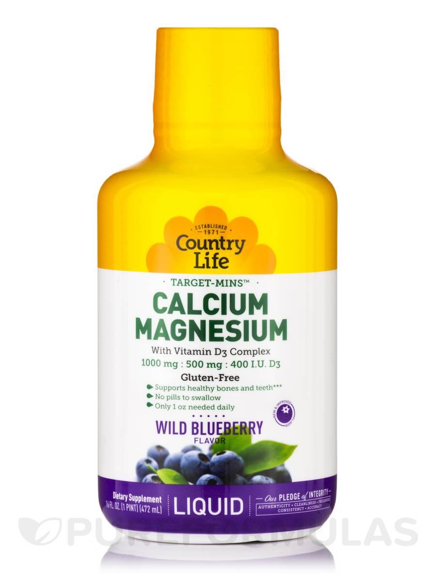 Liquid Calcium Magnesium - Wild Blueberry Flavor - 16 fl. oz (1 Pt / 472 ml)