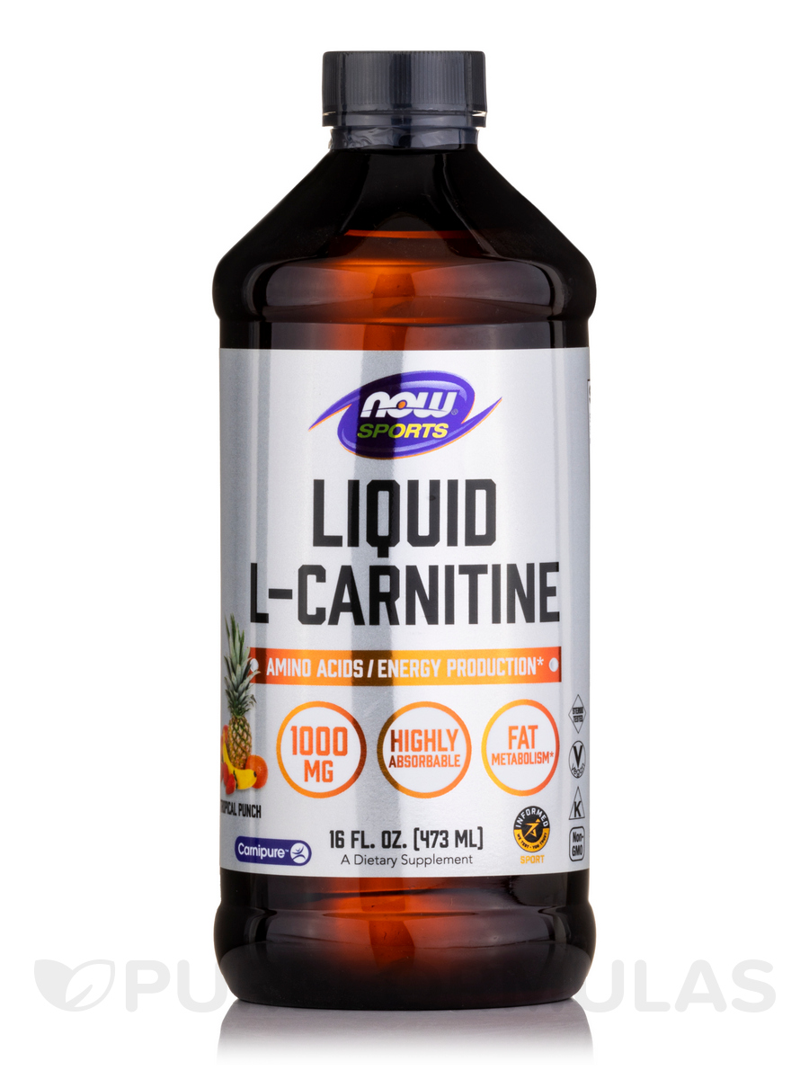 NOW® Sports - Liquid L-Carnitine 1000 mg, Tropical Punch Flavor - 16 fl. oz (473 ml)