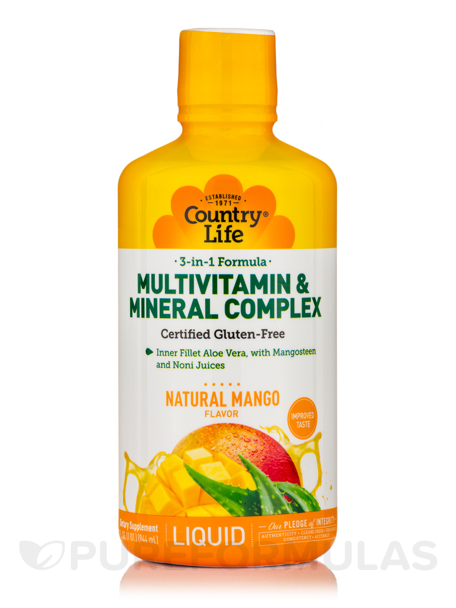 Liquid Multivitamin & Mineral Complex - Mango Flavor - 32 fl. oz (1 Qt / 944 ml)