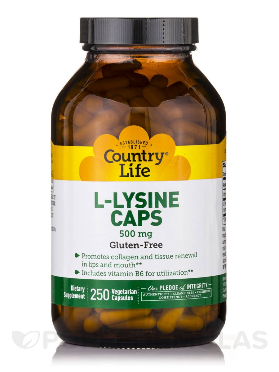 L-Lysine 500 mg with B-6 - 250 Vegetarian Capsules