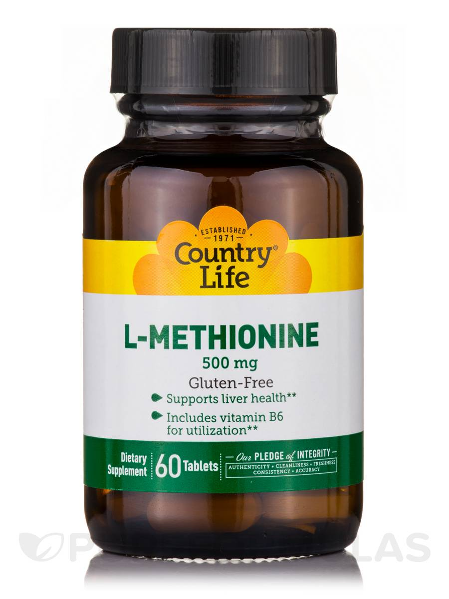 L-Methionine 500 with B-6 - 60 Tablets