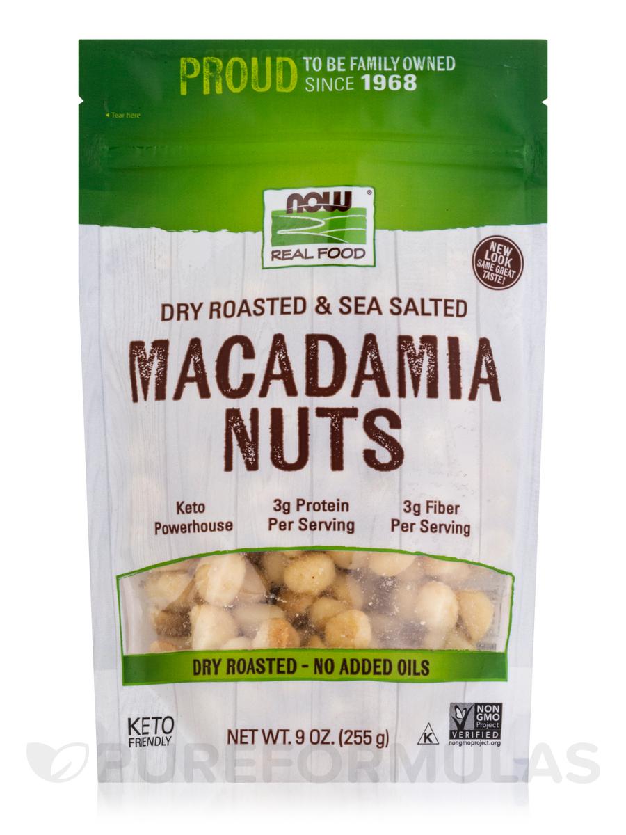NOW Real Food® - Macadamia Nuts with sea Salt, Dry Roasted - 9 oz (255 Grams)