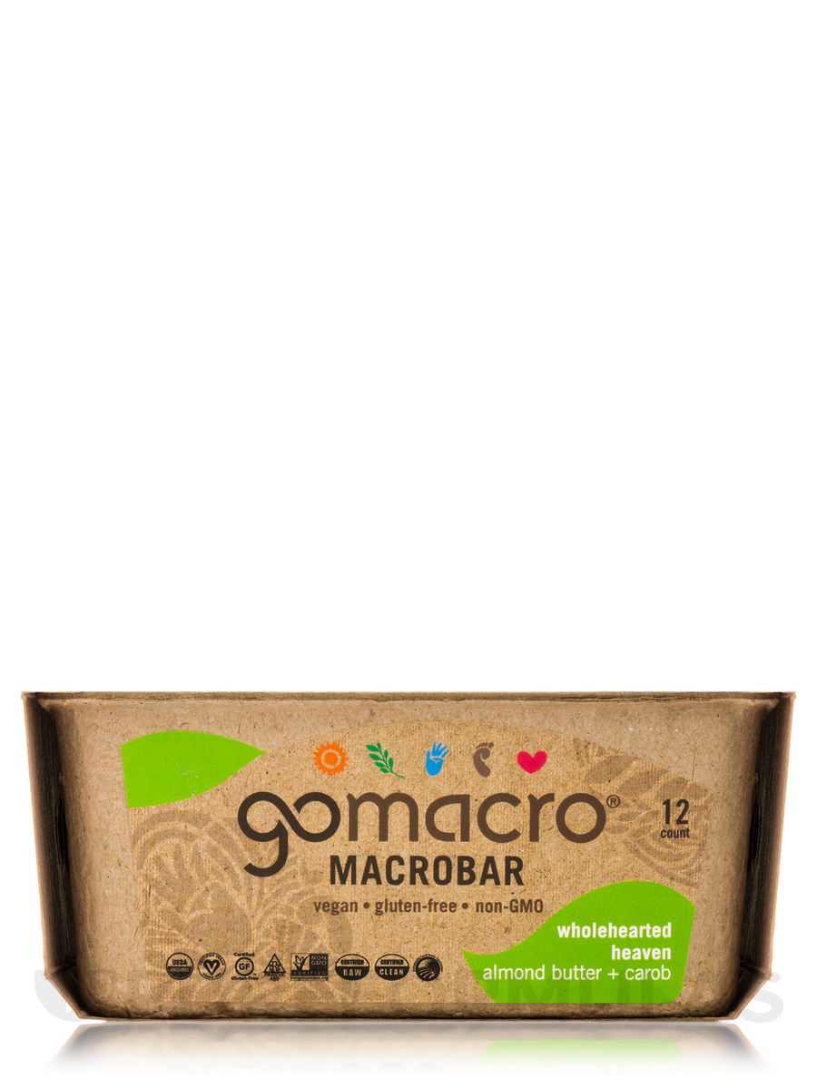 MacroBar Almond Butter + Carob - Box of 12 Bars (2 oz / 57 Grams each)