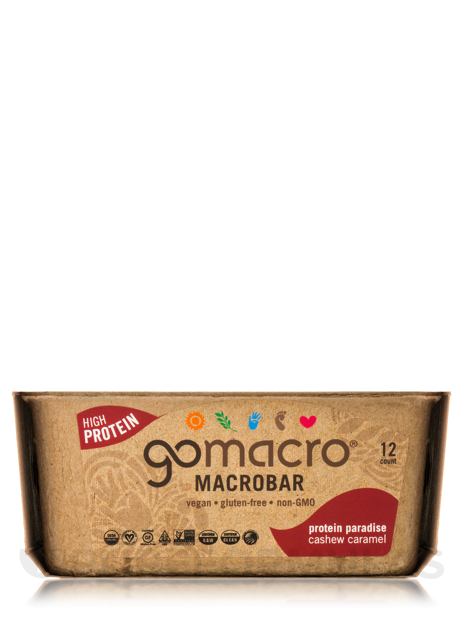 MacroBar Cashew Caramel - Box of 12 Bars (2.1 oz / 60 Grams each)