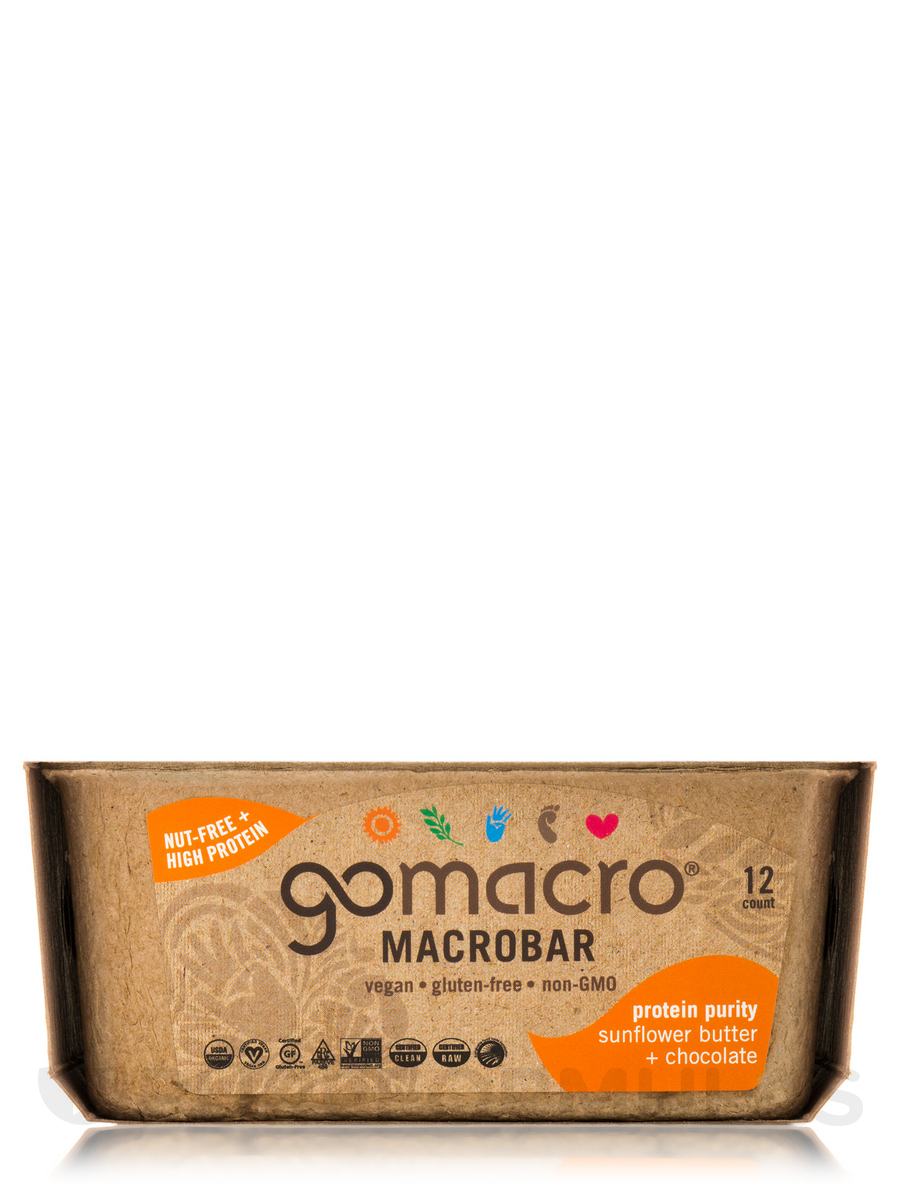 MacroBar Sunflower Butter + Chocolate - Box of 12 Bars (2.3 oz / 65 Grams each)