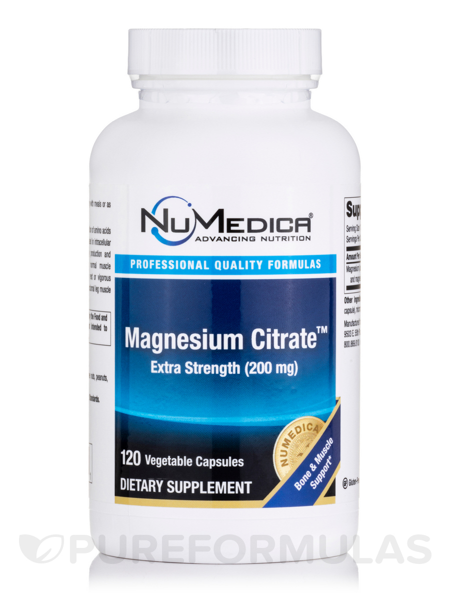 Magnesium Citrate Extra Strength 200 mg - 120 Vegetable Capsules