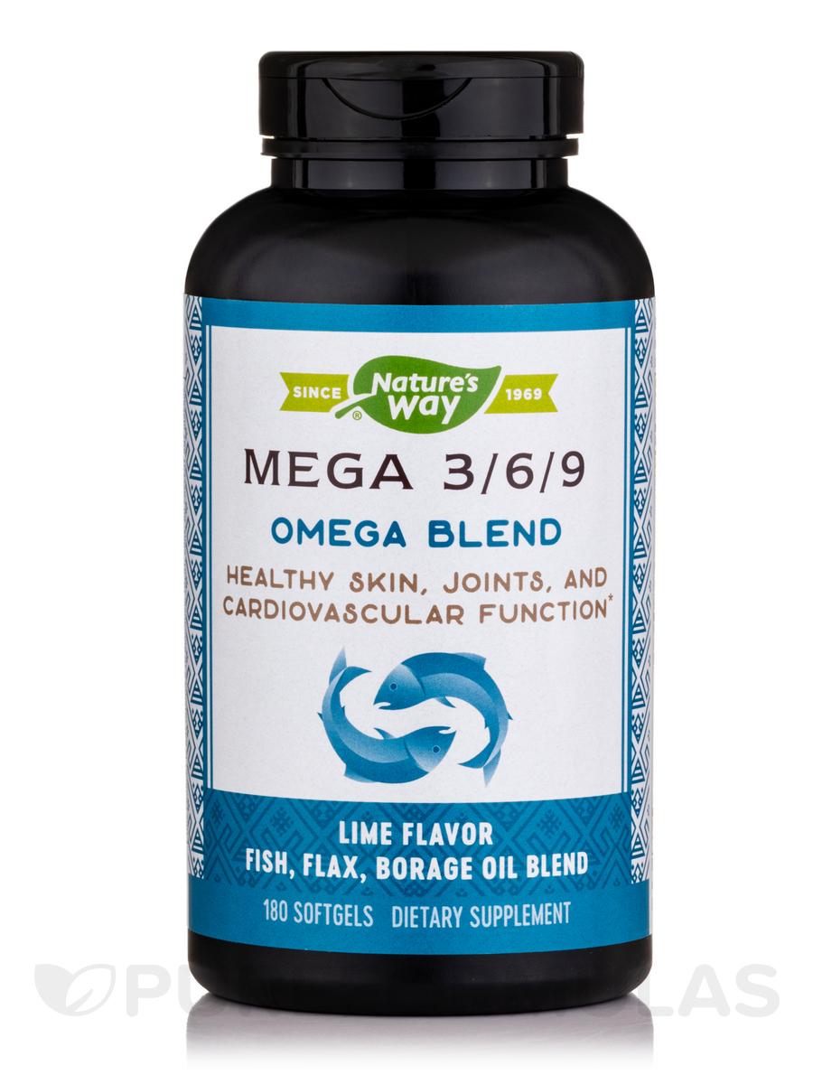 Mega 3-6-9 Blend 1350 mg (Lime Flavor) - 180 Softgels