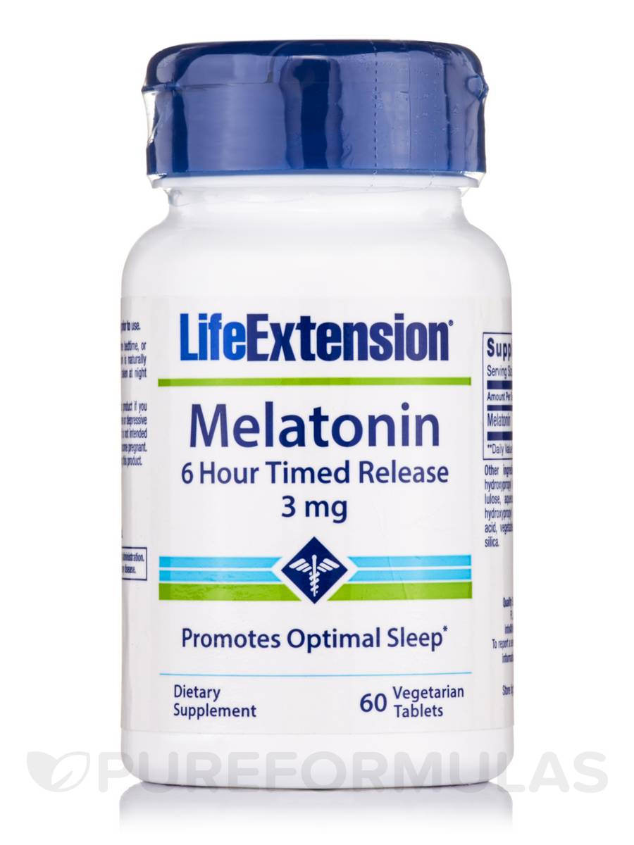 Melatonin (6 Hour Timed Release) 3 mg - 60 Vegetarian Tablets