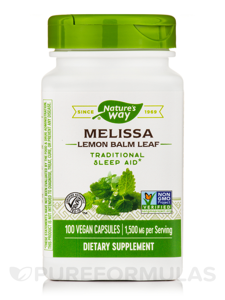 Melissa Leaves (Lemon Balm) 500 mg - 100 Capsules