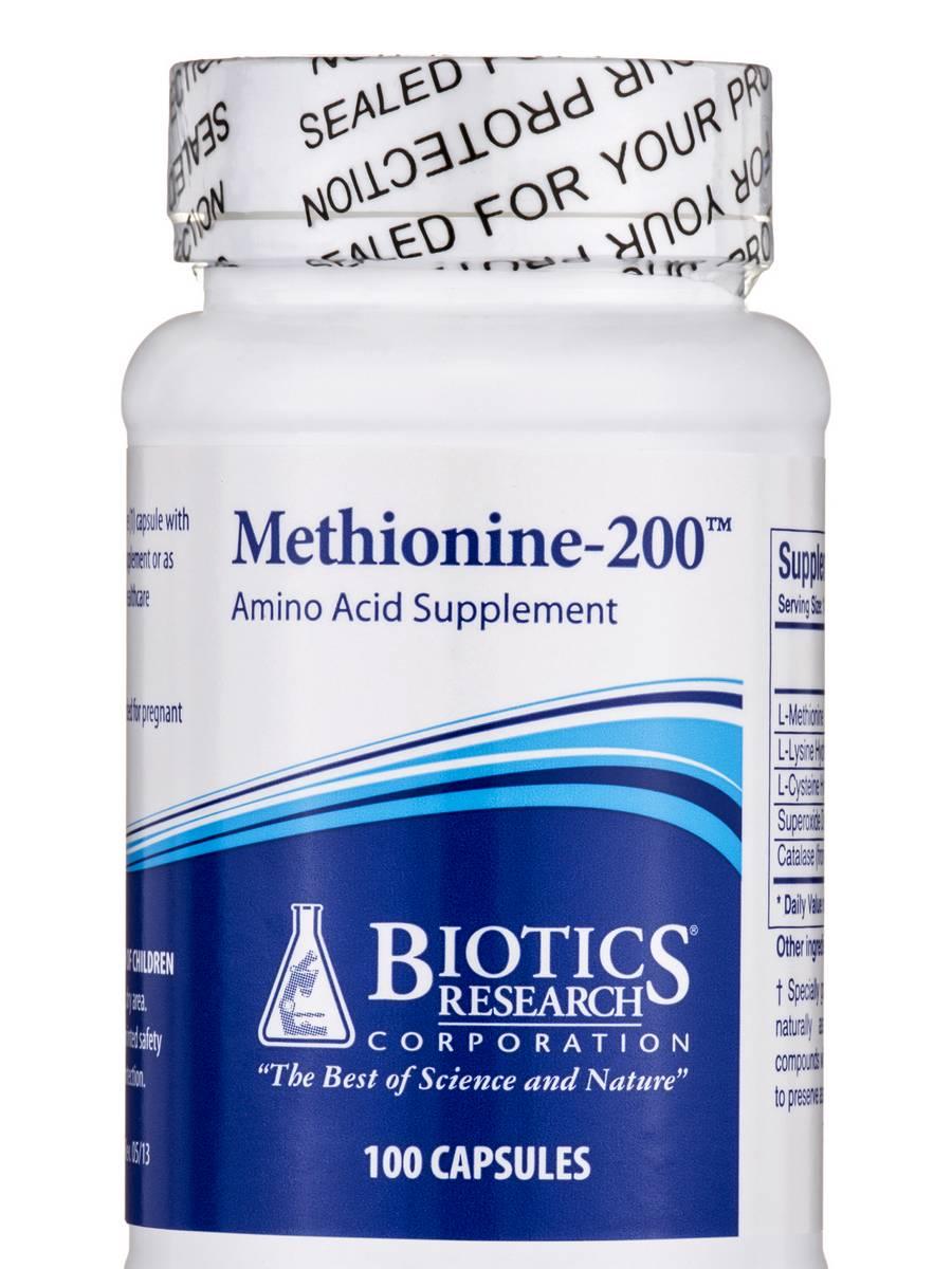 Methionine-200 - 100 Capsules