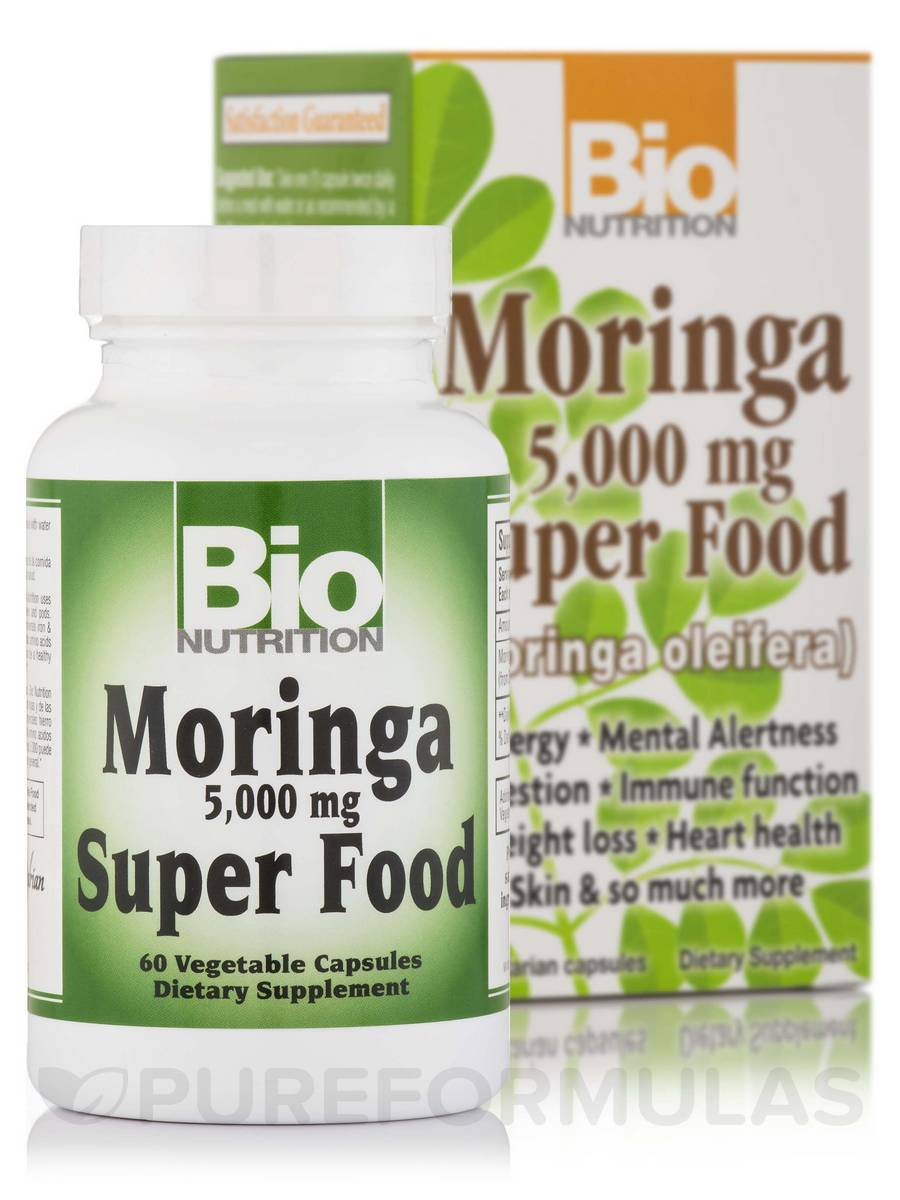 Moringa 5000 mg Super Food - 60 Vegetable Capsules