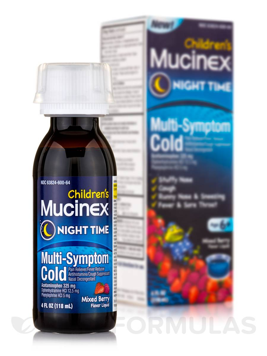 Children's Mucinex® Night Time Multi-Symptom Cold Mixed Berry Flavor Liquid - 4 fl. oz (118 ml)