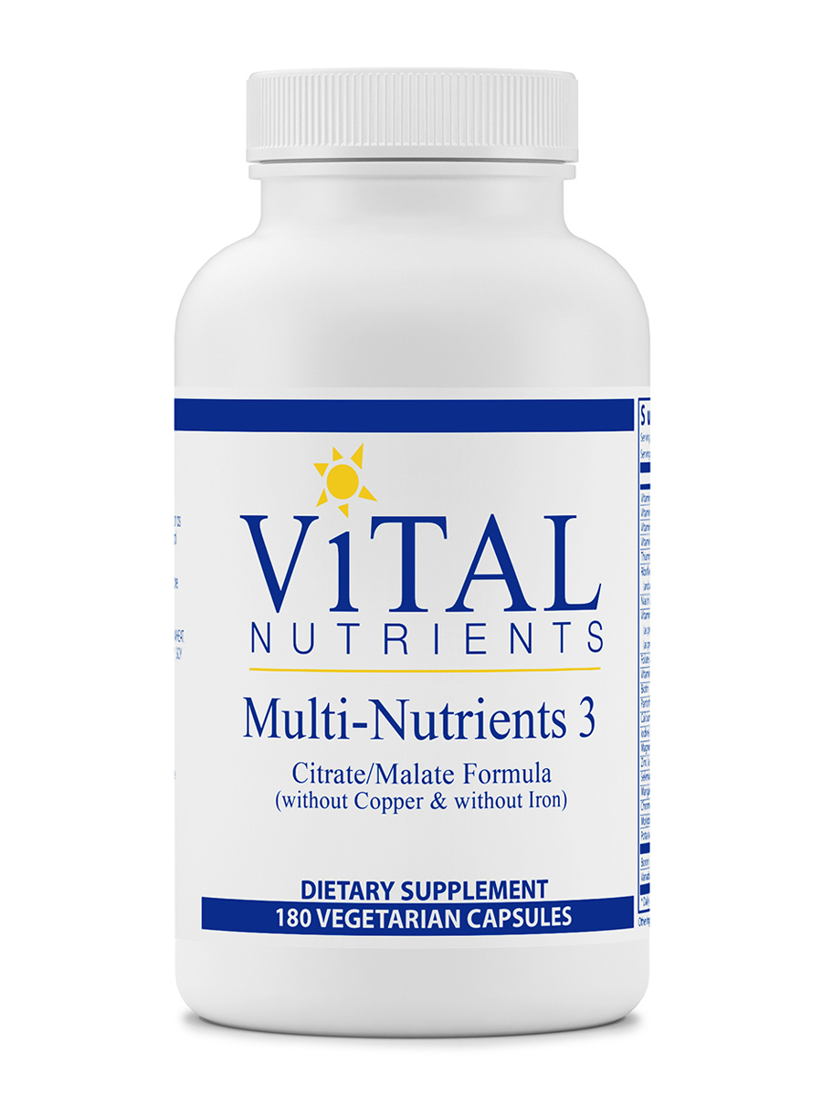 Multi-Nutrients 3 Citrate/Malate Formula (without Copper & without Iron) - 180 Capsules