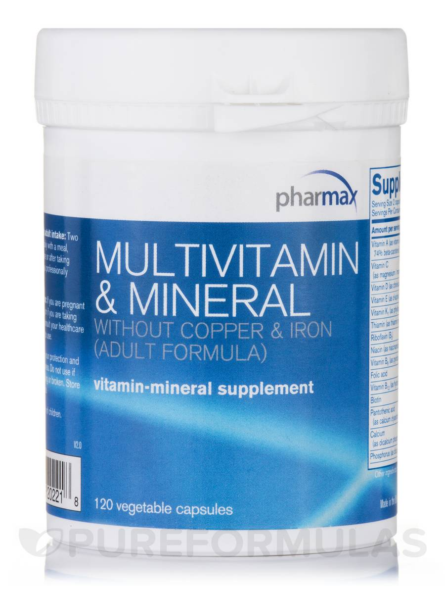 Multivitamin & Mineral w/o Cu & Fe (Adult Formula) - 120 Vegetable Capsules