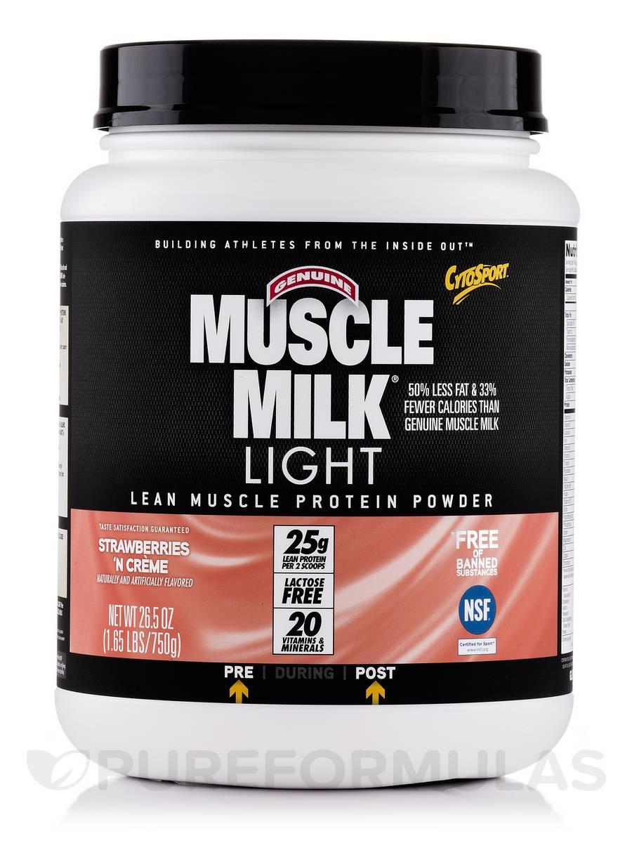 Muscle Milk Light Strawberry 'n Creme - 1.65 lbs (26.5 oz / 750 Grams)