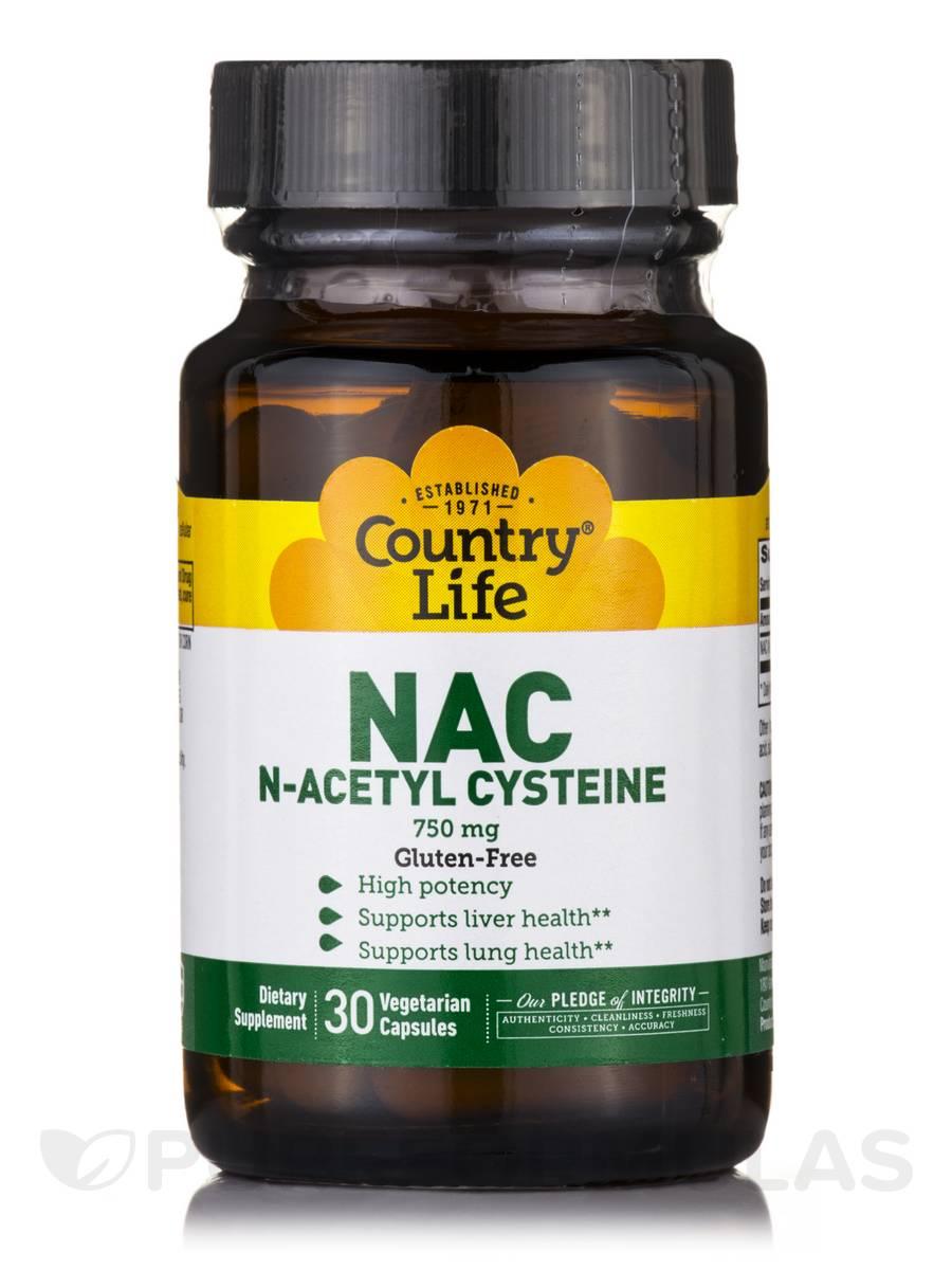 NAC N-Acetyl Cysteine 750 mg - 30 Vegetarian Capsules