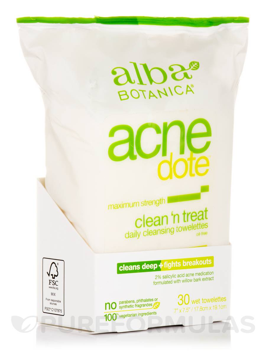 Natural AcneDote Clean & Treat - 30 Wet Towelettes