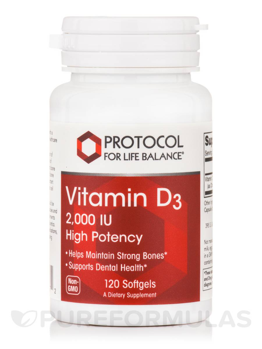 Vitamin D3 2000 IU (High Potency) - 120 Softgels