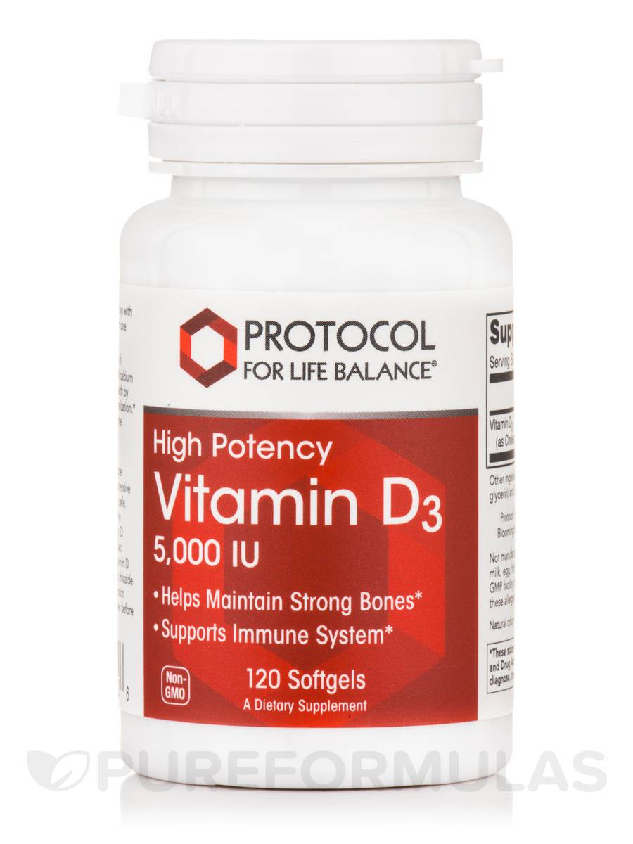 Vitamin D3 5000 IU (High Potency) - 120 Softgels