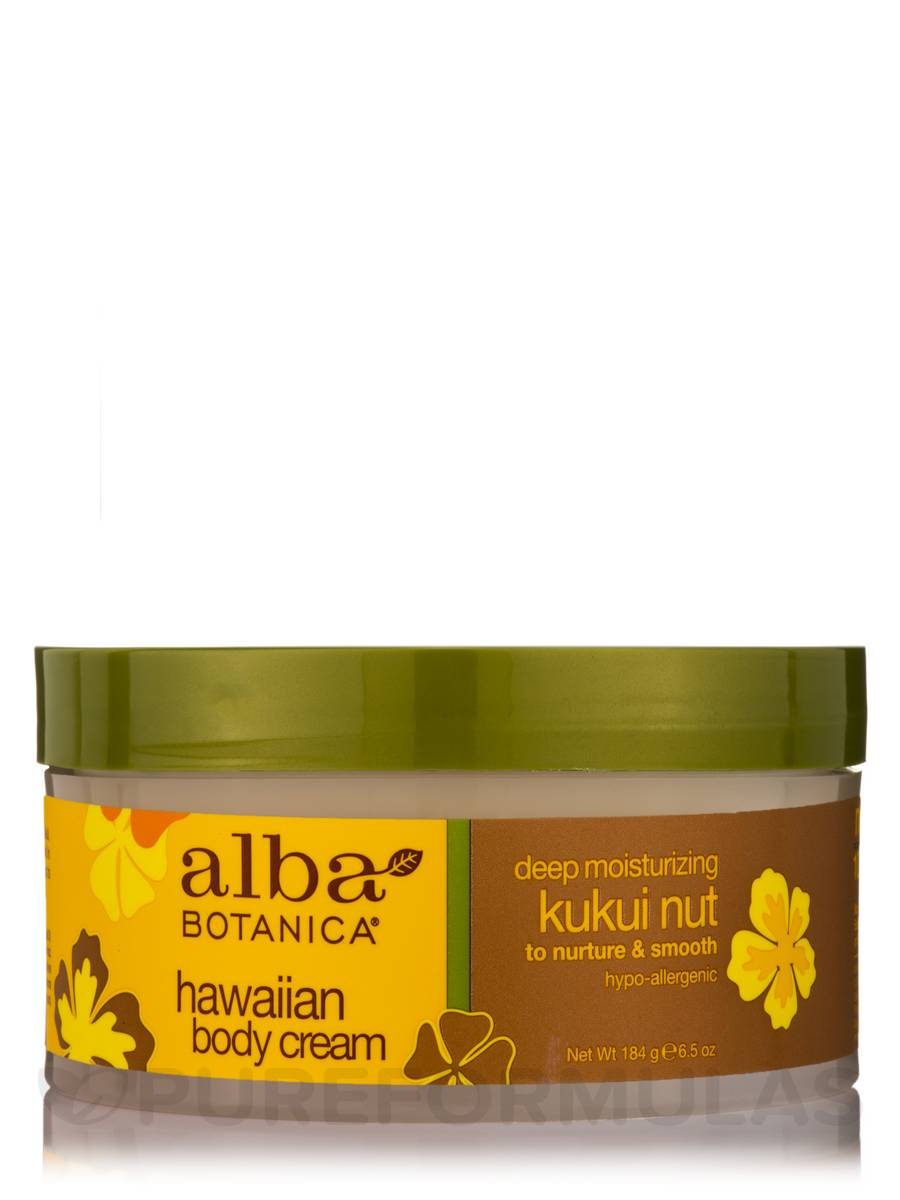 Natural Hawaiian Body Cream Deep Moisturizing Kukui Nut - 6.5 oz (184 Grams)