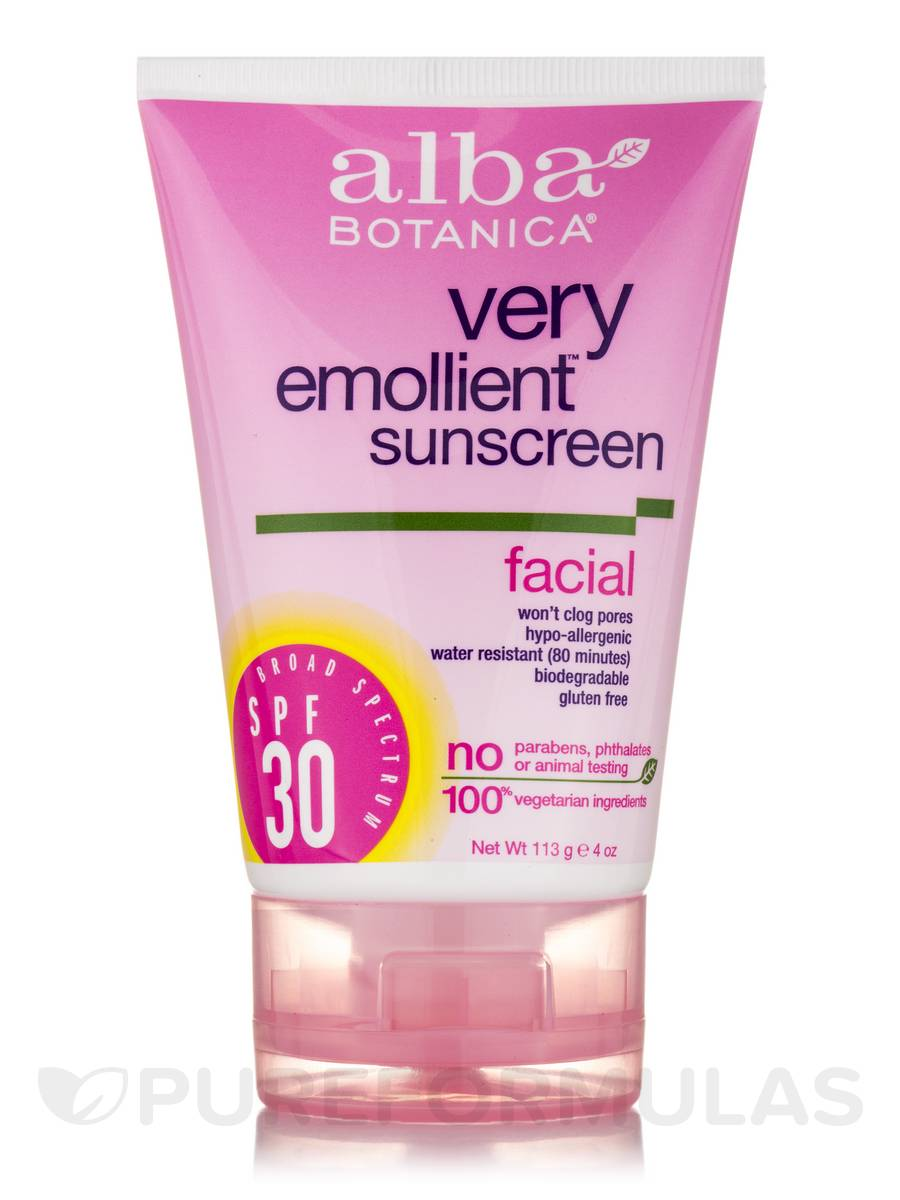 Natural Very Emollient Sunscreen Natural Protection Facial SPF30 - 4 oz (113 Grams)