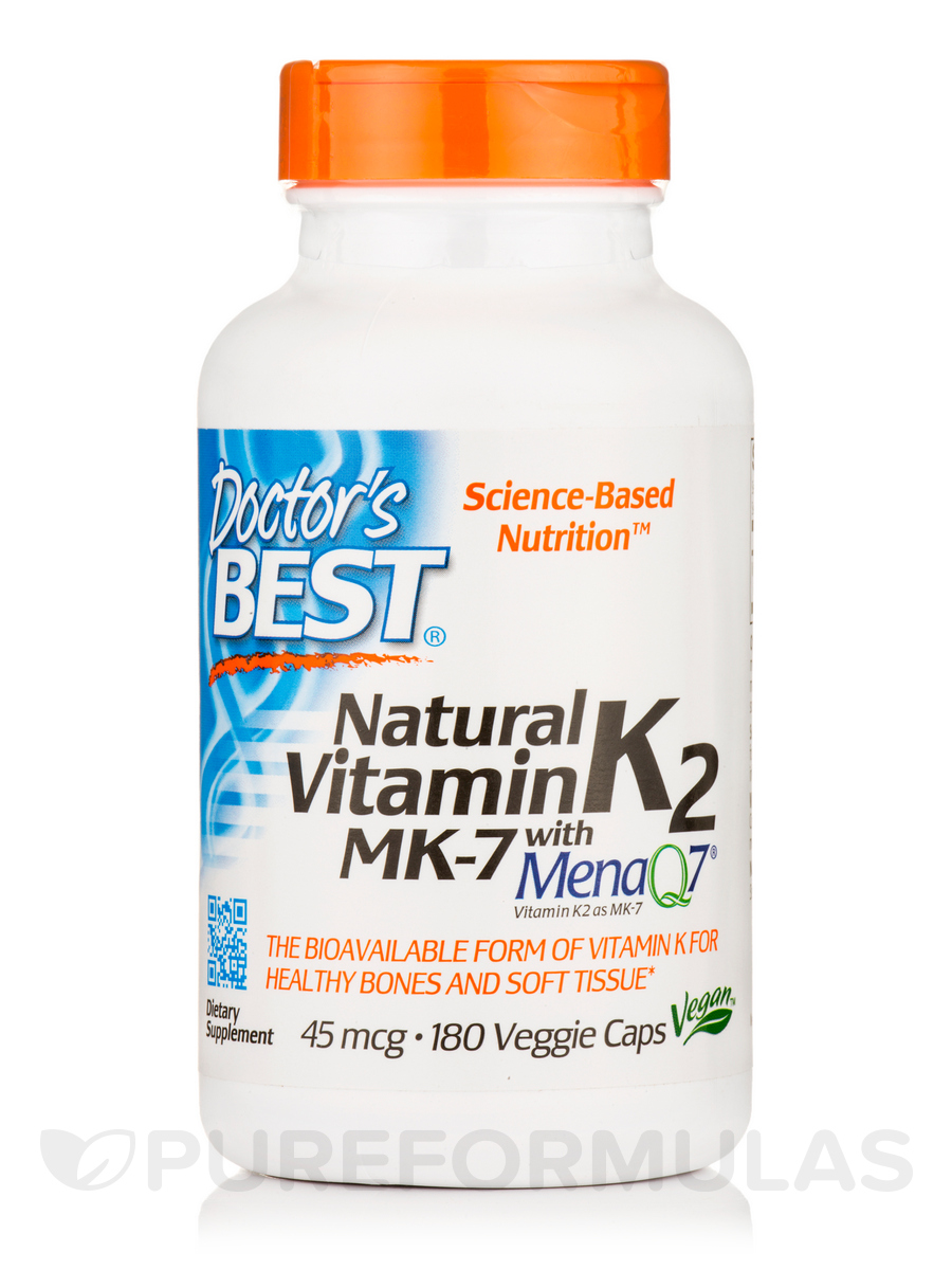 Natural Vitamin K2 MK-7 with MenaQ7® 45 mcg - 180 Veggie Capsules