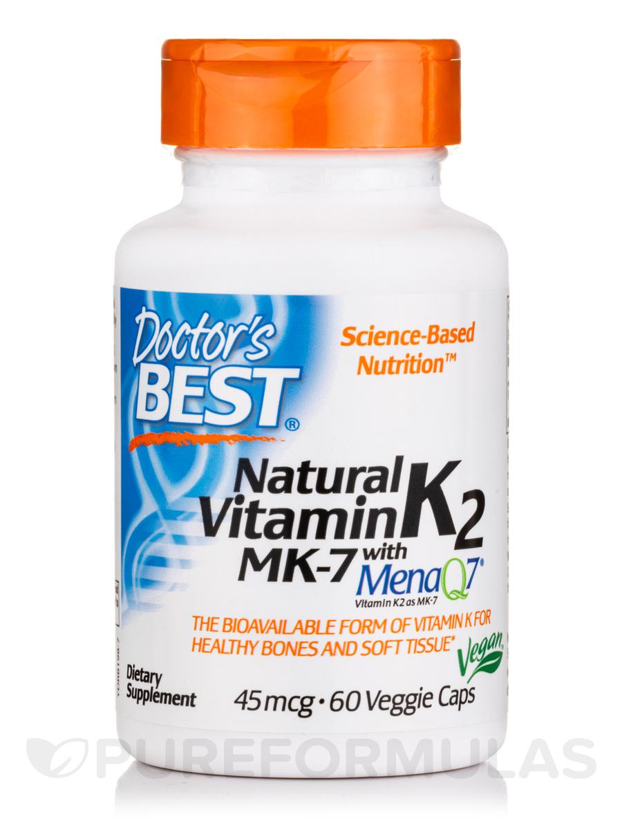 Natural Vitamin K2 MK-7 with MenaQ7® 45 mcg - 60 Veggie Capsules