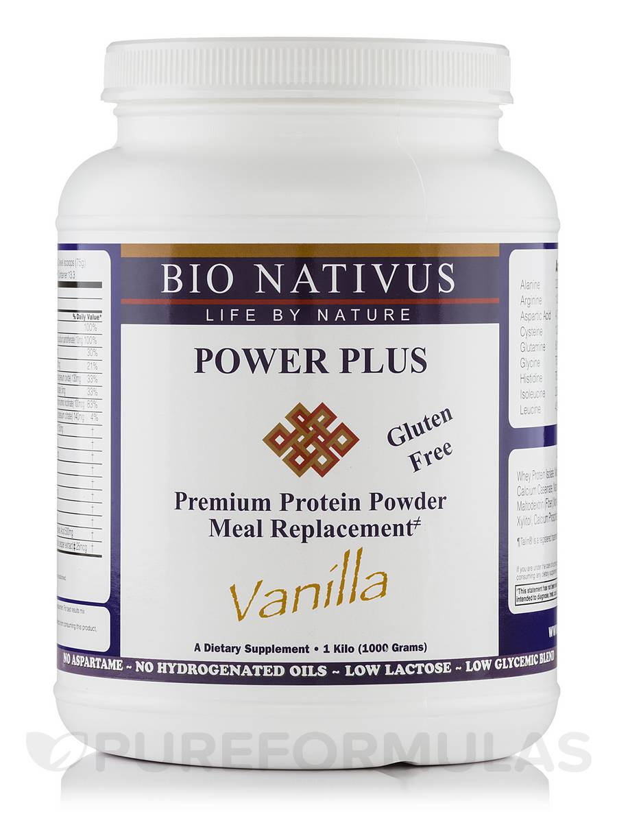 Power-Plus Protein Meal Replacement, Vanilla Gluten-Free, Low-Glycemic - 1 Kg (1000 Grams)
