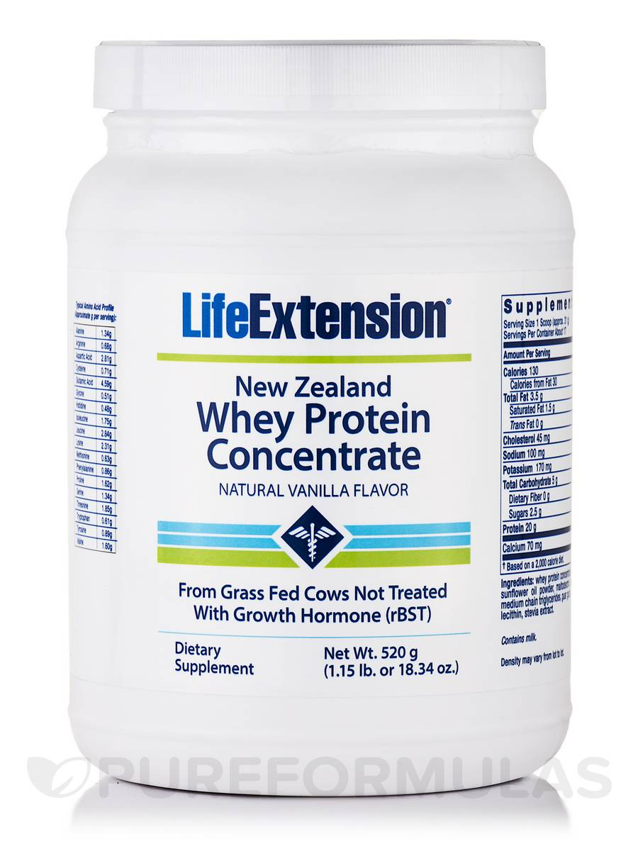 New Zealand Whey Protein Concentrate (Natural Vanilla Flavor) - 18.34 oz (520 Grams)