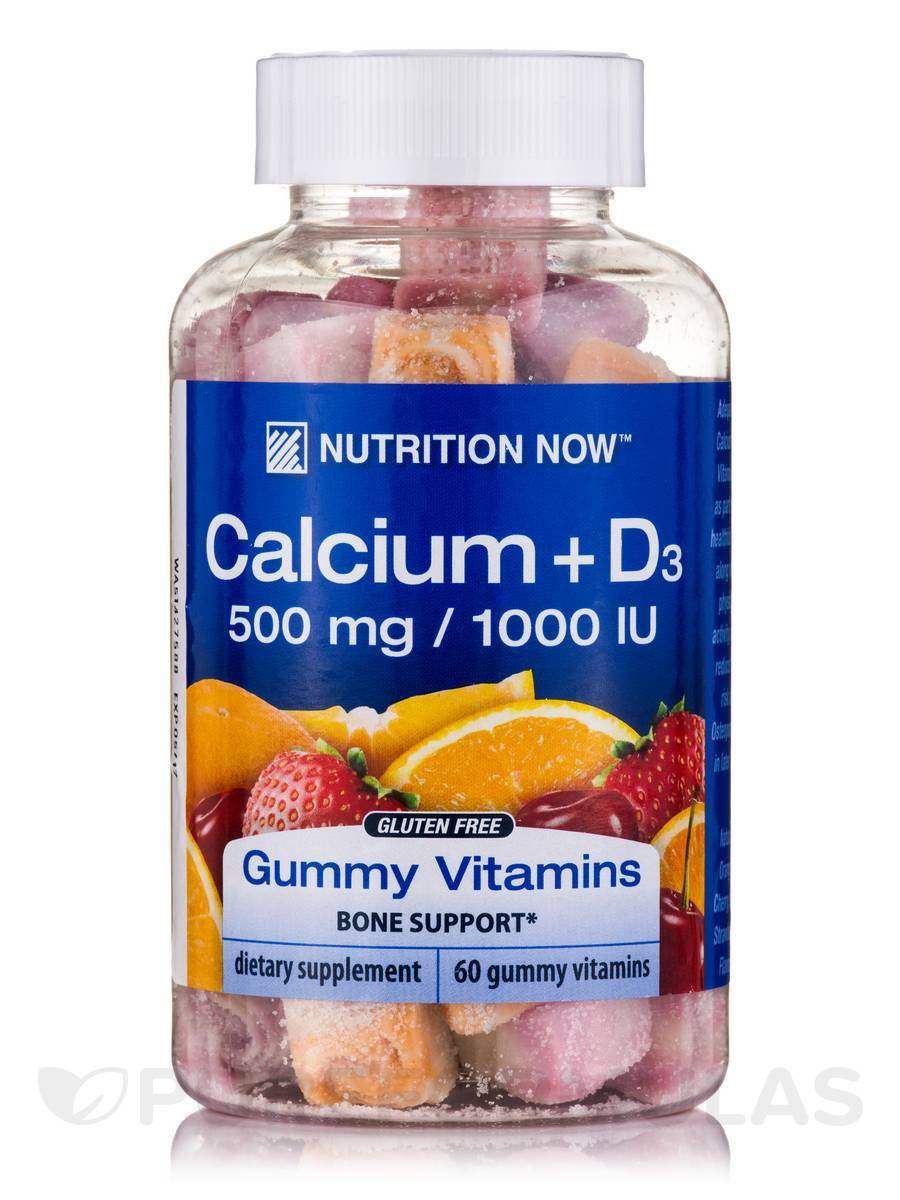 Calcium + D3 Gummy Vitamins 500 mg / 1000 IU (Assorted Flavors) - 60 Gummies