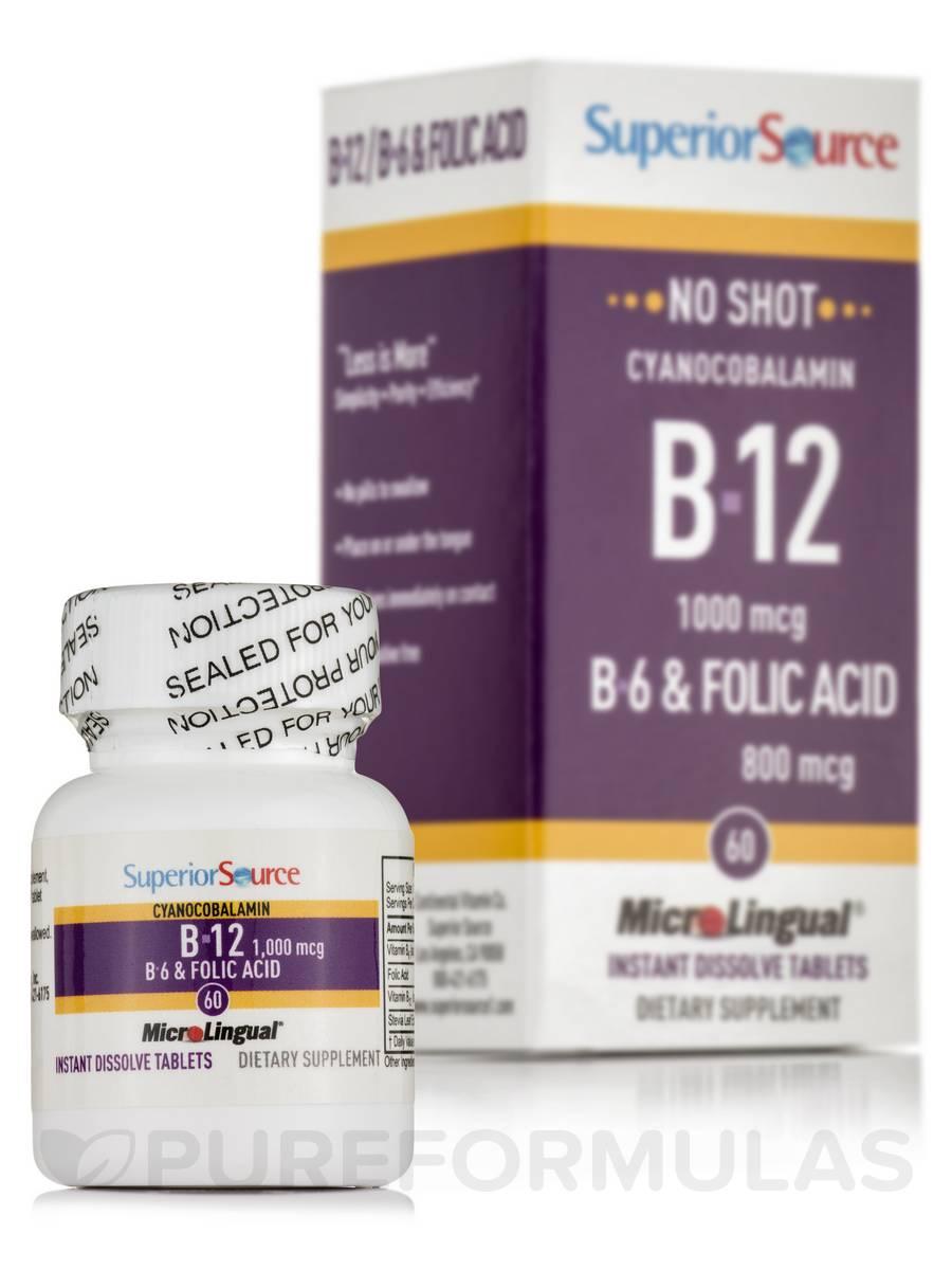 No Shot B12 (as Cyanocobalamin)/B6 2 mg/Folic Acid 800 mcg - 60 Dissolvable Tablets