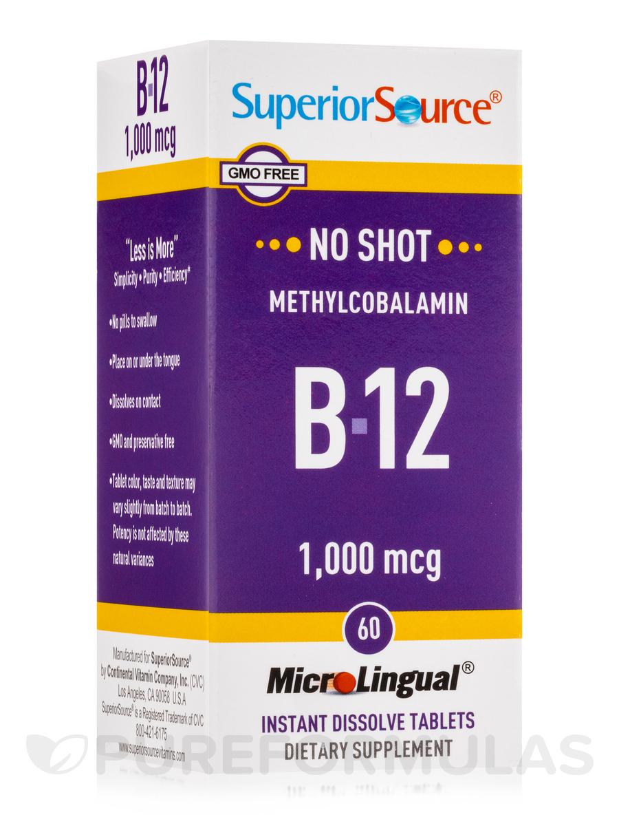 No Shot Methylcobalamin B12 1000 mcg - 60 Dissolvable Tablets