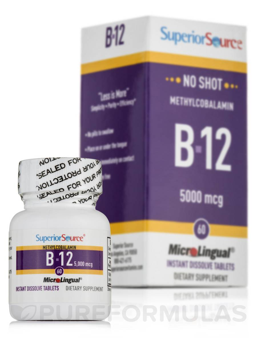 No Shot Methylcobalamin B12 5000 mcg - 60 Dissolvable Tablets