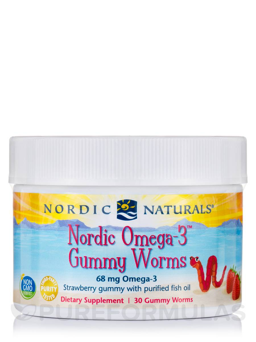 Nordic Omega-3™ Gummy Worms, Strawberry Flavor - 30 Gummies