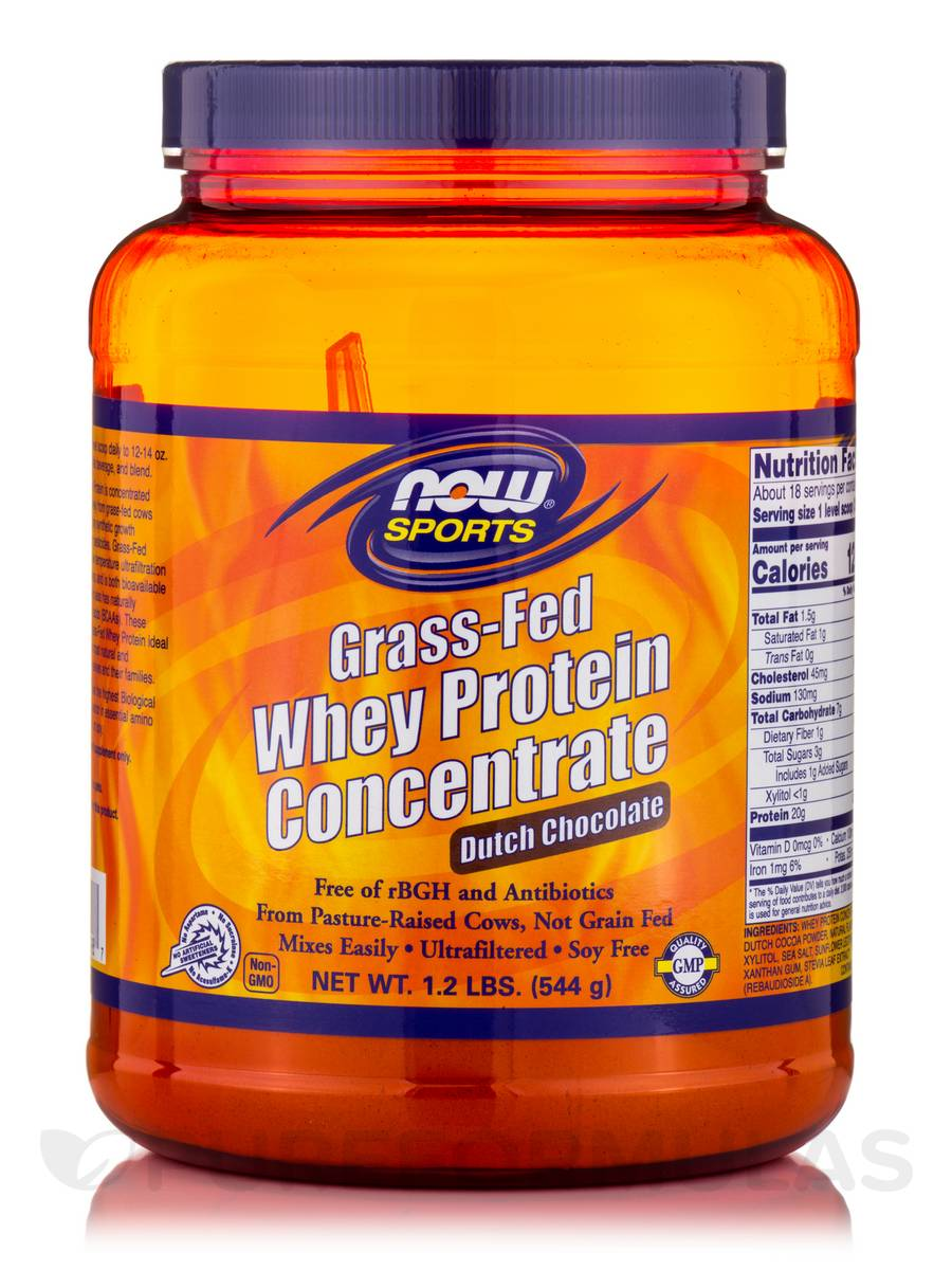 NOW® Sports - Grass-Fed Whey Protein Concentrate, Dutch Chocolate - 1.2 lbs (544 Grams)