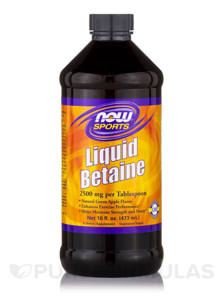 NOW® Sports - Liquid Betaine 2500 mg, Natural Green Apple Flavor - 16 fl. oz (473 ml)