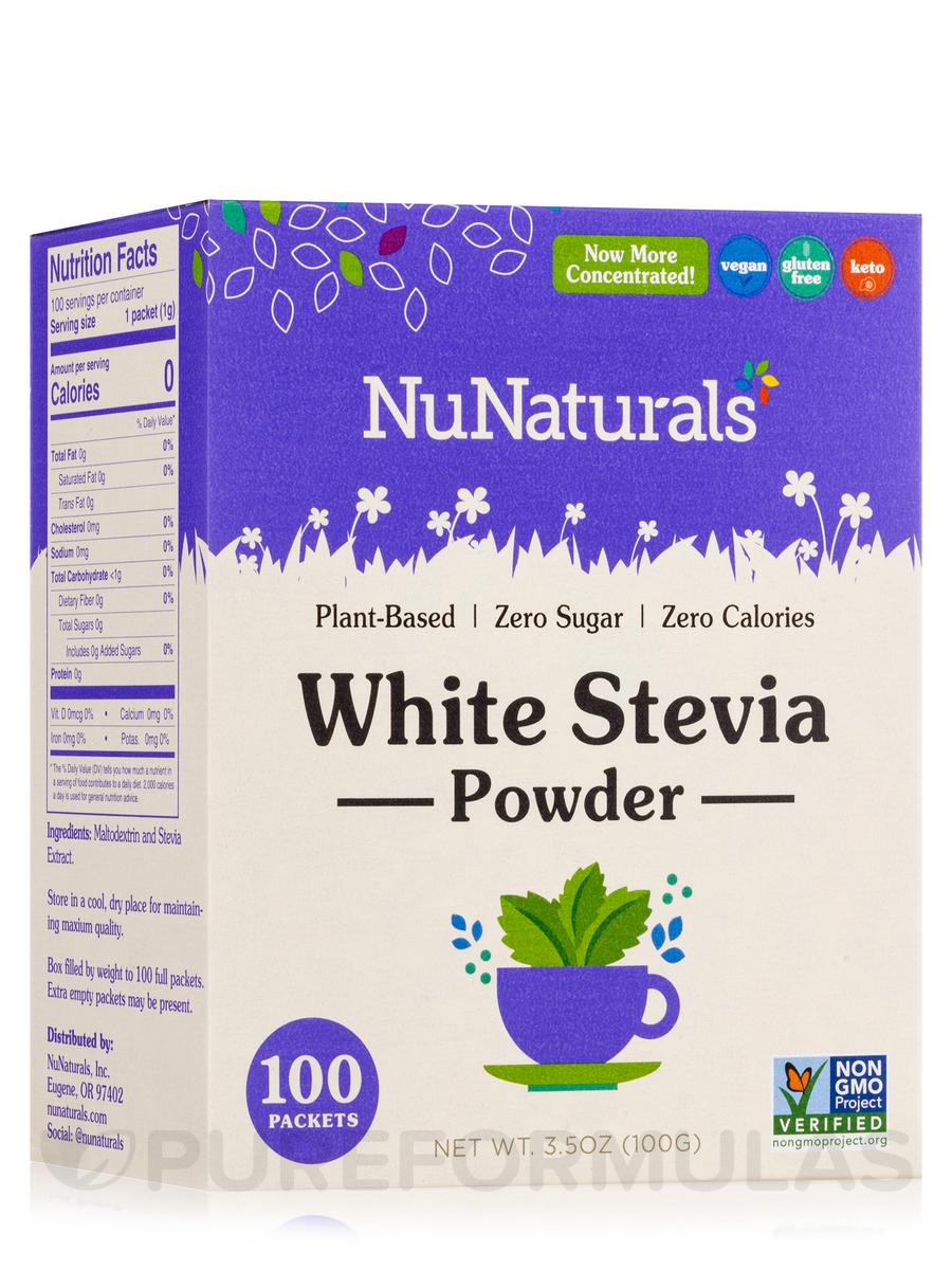 NuStevia White Stevia Powder - Box of 100 Packets (3 25 oz / 100 Grams)