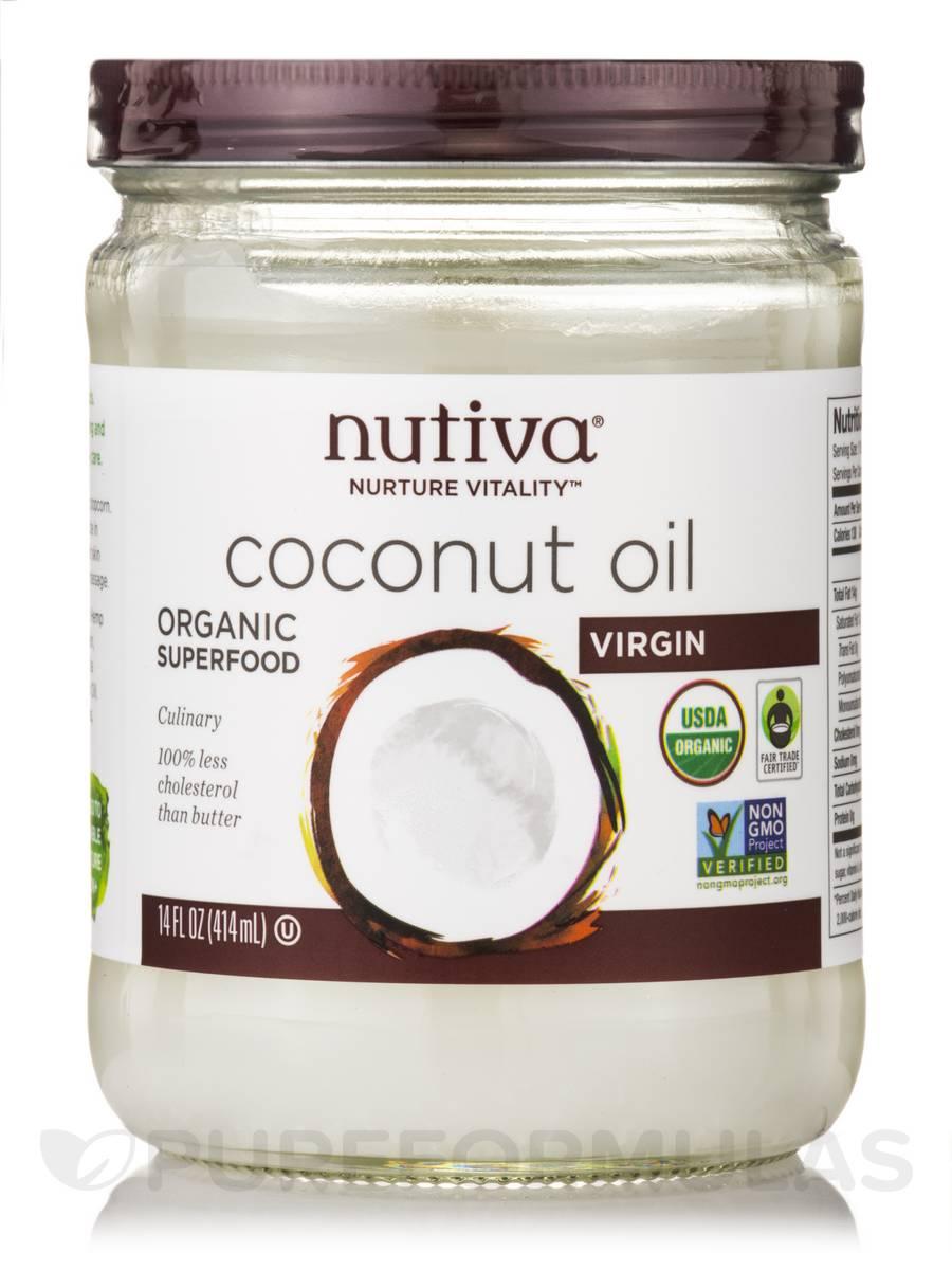 Organic Virgin Coconut Oil Glass Jar 15 Fl Oz 444 Ml