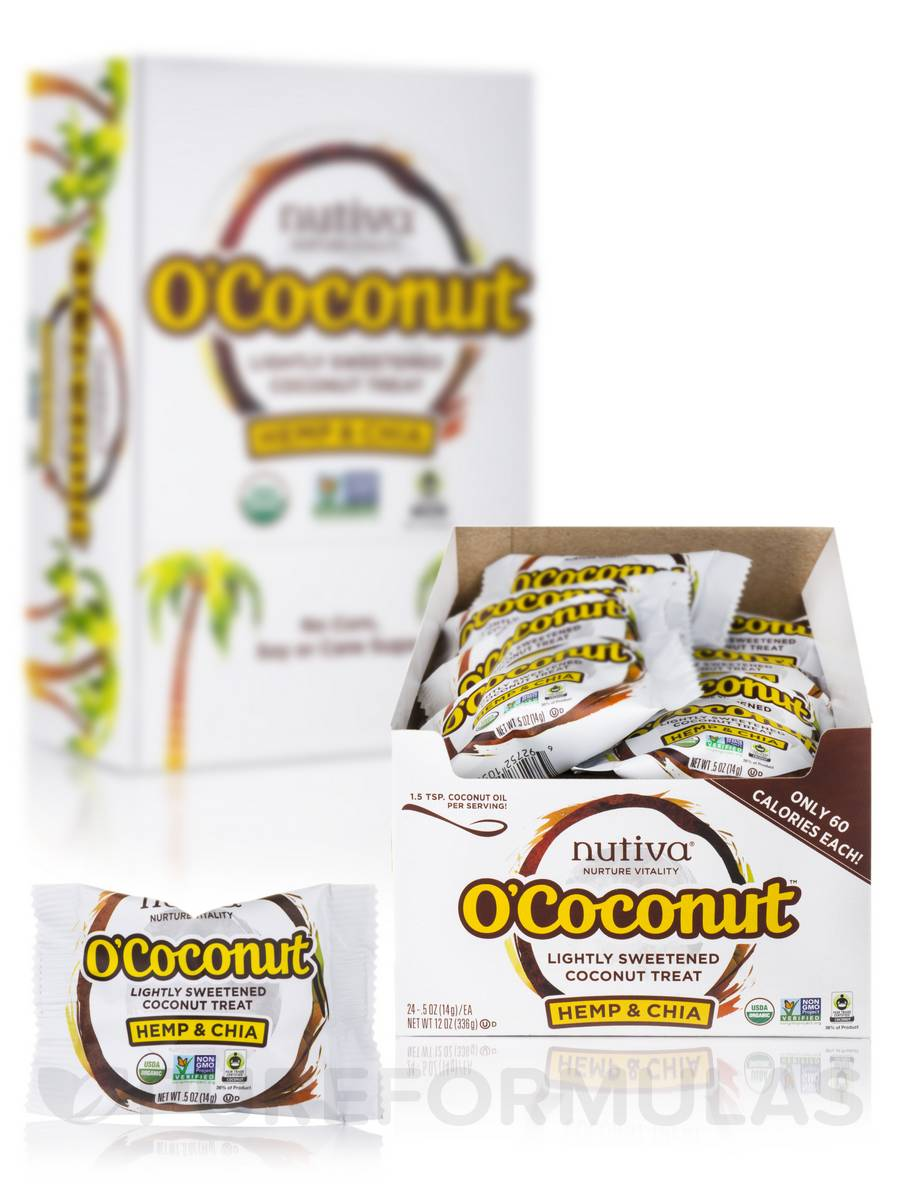 O'Coconut™ Hemp & Chia - Box of 24 Pouches (0.5 oz / 14 Grams each) (12 oz / 336 Grams)