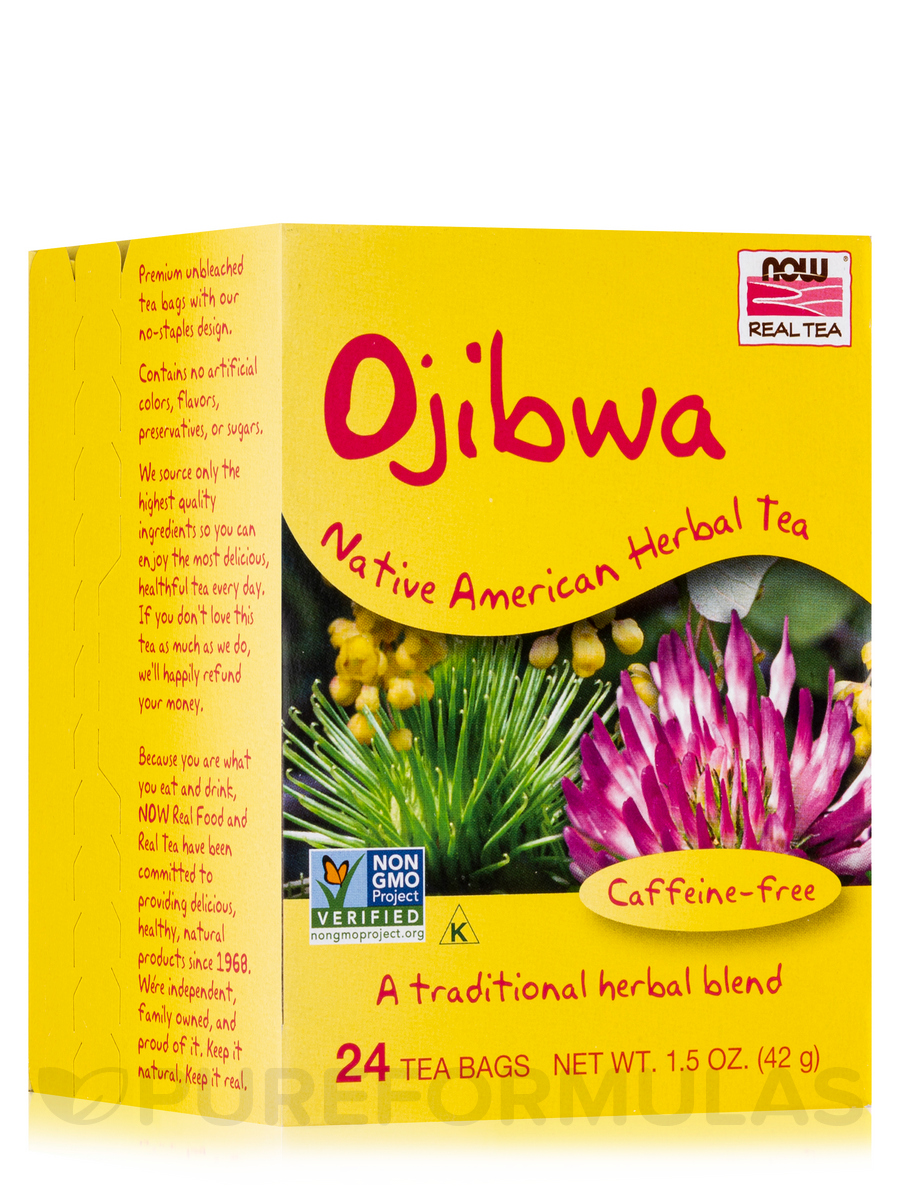 NOW® Real Tea - Ojibwa Herbal Cleansing Tea Bags - Box of 24 Packets