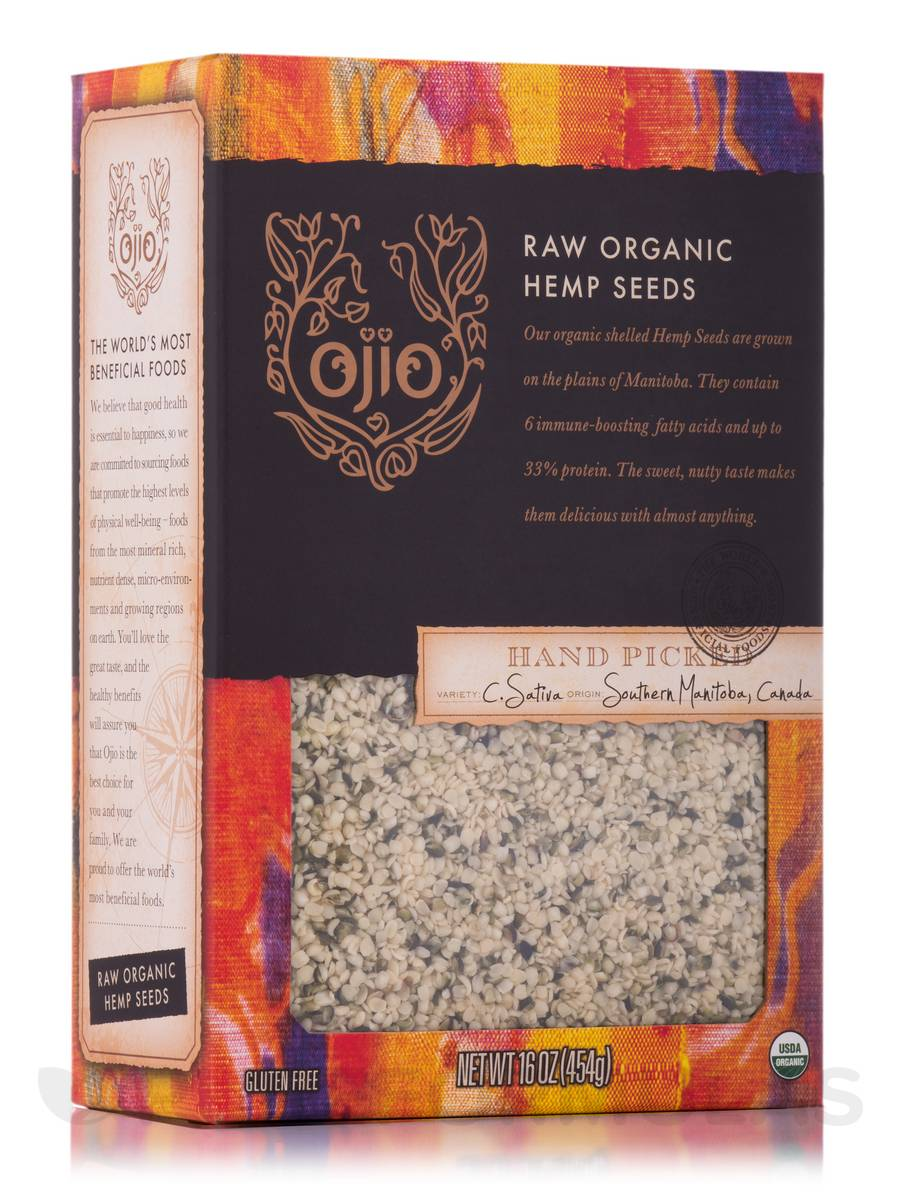 Ojio Hemp Seeds, Raw, Organic - 16 oz (454 Grams)