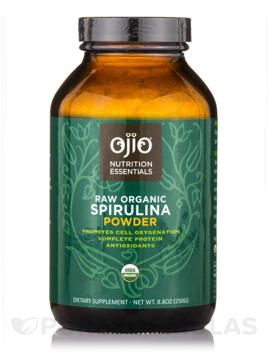 Ojio Spirulina Powder, Raw, 100% Organic - 8.8 oz (250 Grams)