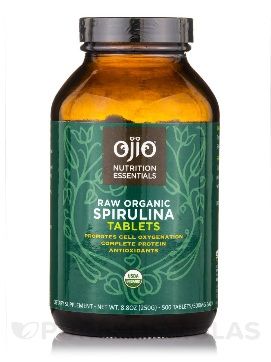 Ojio Spirulina Tablets, Raw, 100% Organic - 250 Grams (500 Tabs/500 mg Each)