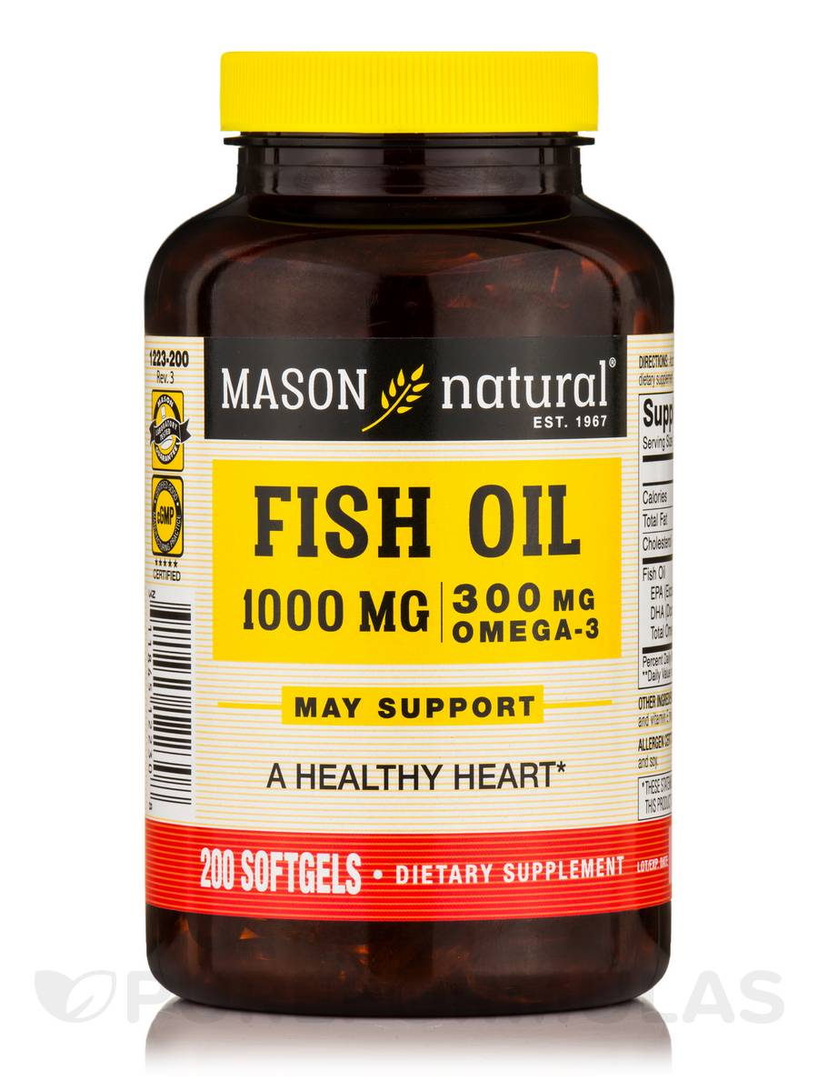 Omega 3 fish oil 1000 mg cholesterol free 200 softgels for Fish with omega 3