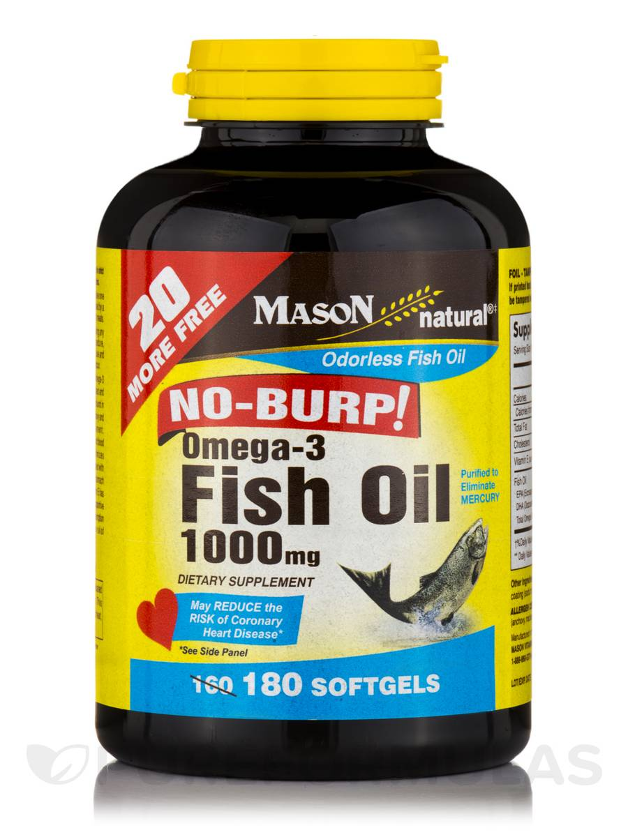 Omega 3 fish oil 1000 mg no burp 180 softgels for Fish oil 1000 mg