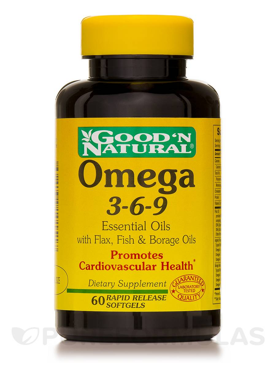 Omega 3-6-9 Essential Oils with Flax, Fish, Borage Oils - 60 Softgels