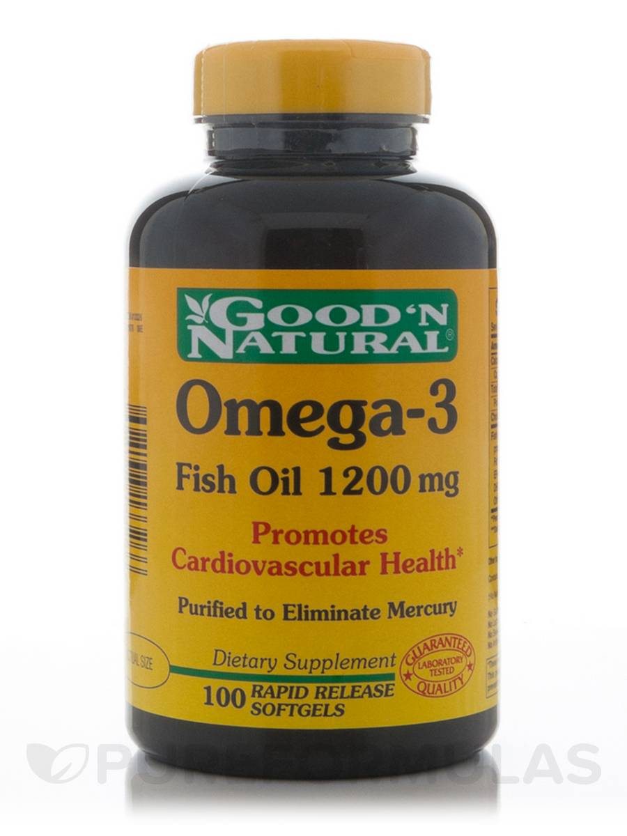 Omega 3 natural fish oil 1200 mg 100 softgels for Fish with omega 3