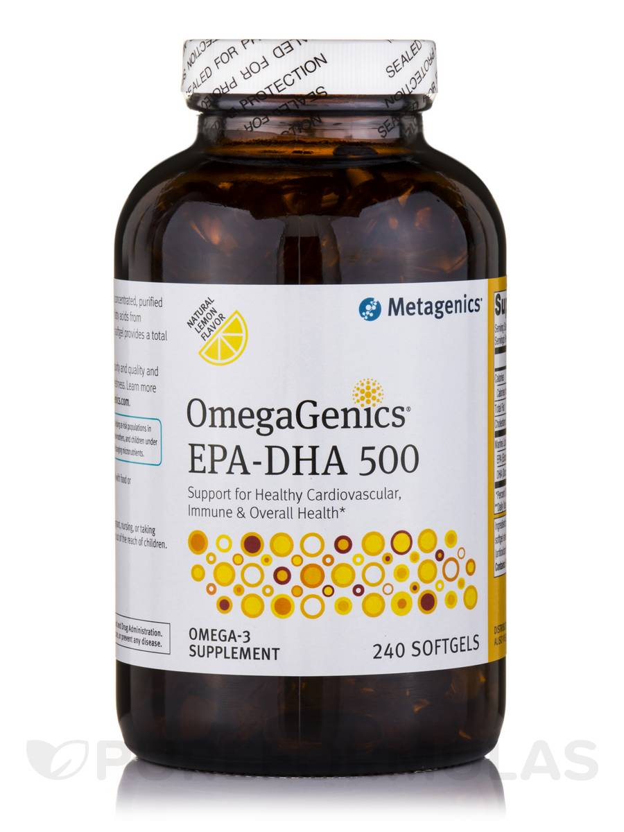 OmegaGenics® EPA-DHA 500 Natural Lemon Flavored - 240 Softgels