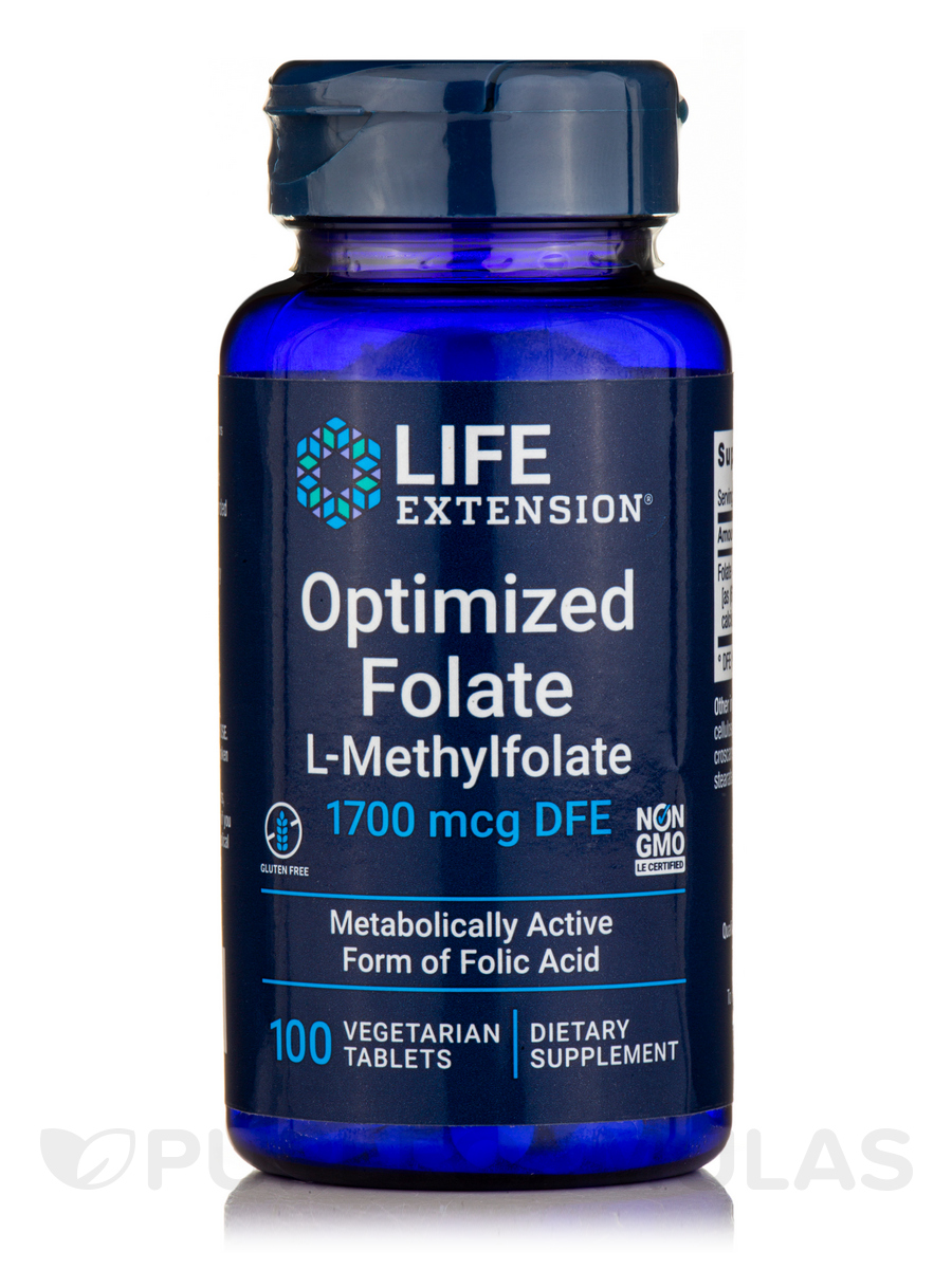 Optimized Folate (L-Methylfolate) 1000 mcg - 100 Vegetarian Tablets