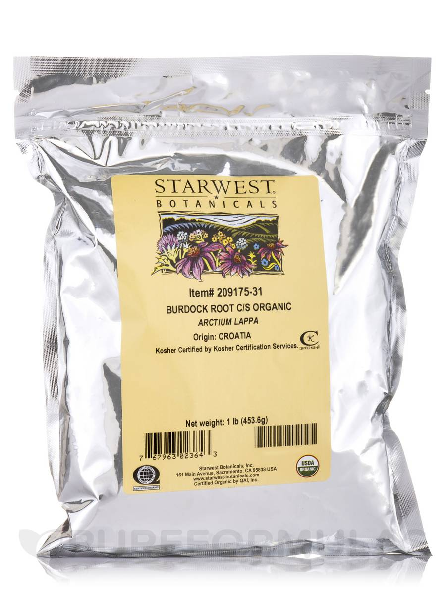 Organic Burdock Root Cut & Sift - 1 lb (453.6 Grams)